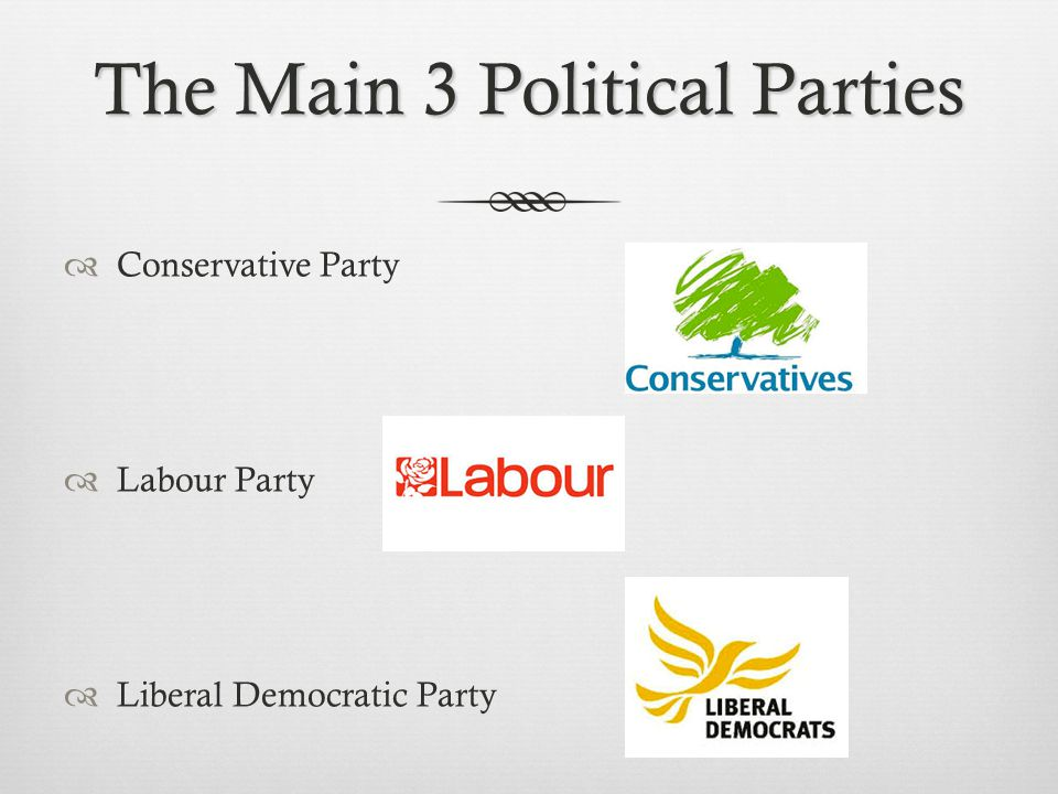 The Main 3 Political Parties  Conservative Party  Labour Party  Liberal Democratic Party