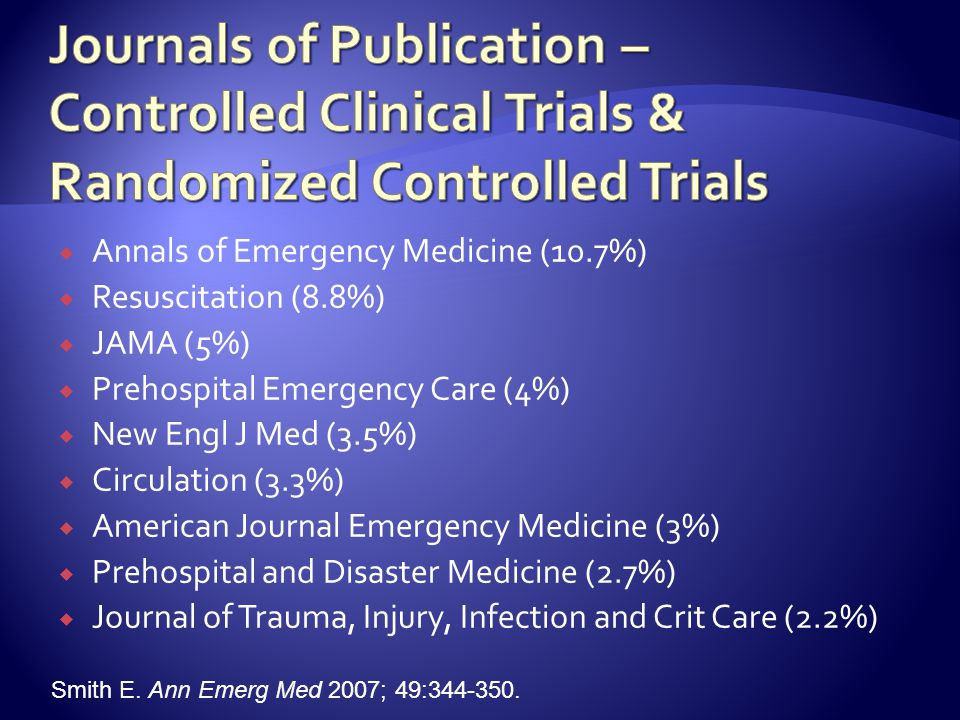  Annals of Emergency Medicine (10.7%)  Resuscitation (8.8%)  JAMA (5%)  Prehospital Emergency Care (4%)  New Engl J Med (3.5%)  Circulation (3.3%)  American Journal Emergency Medicine (3%)  Prehospital and Disaster Medicine (2.7%)  Journal of Trauma, Injury, Infection and Crit Care (2.2%) Smith E.