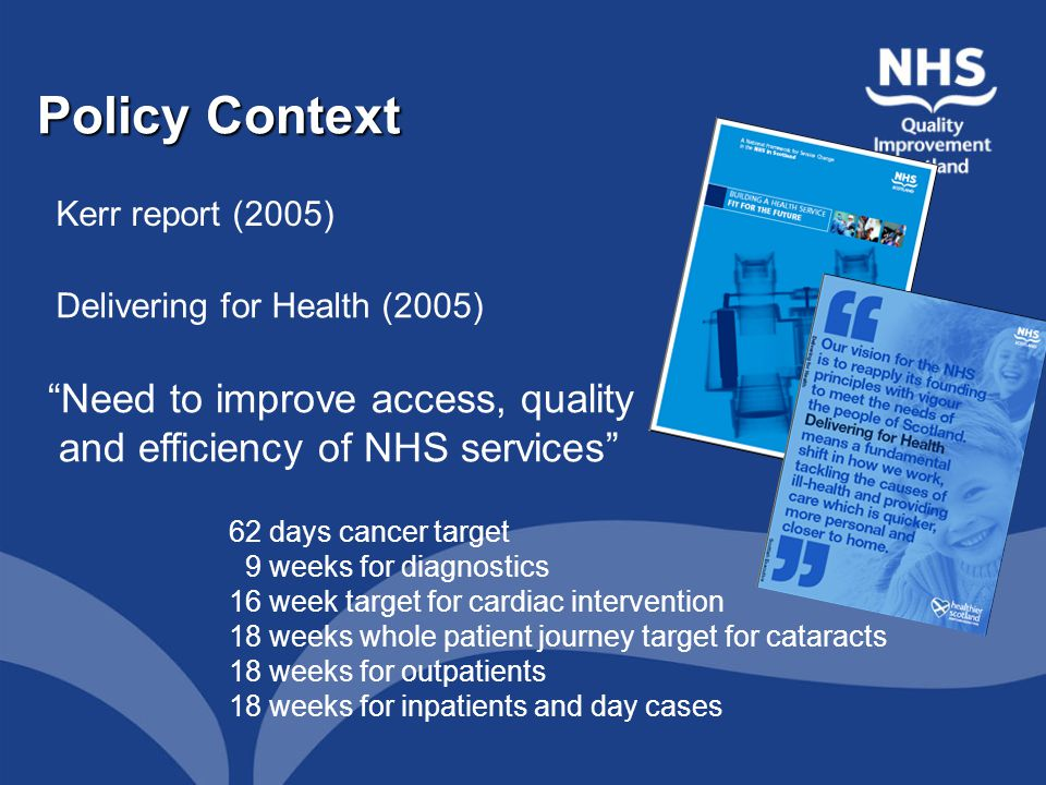 National standards will be developed for Integrated Care Pathways (ICPs) for the main diagnoses: - schizophrenia - bi-polar disorder - dementia - depression - personality disorder by late 2007. National Policy on ICPs Source: Delivering for Health (2005)