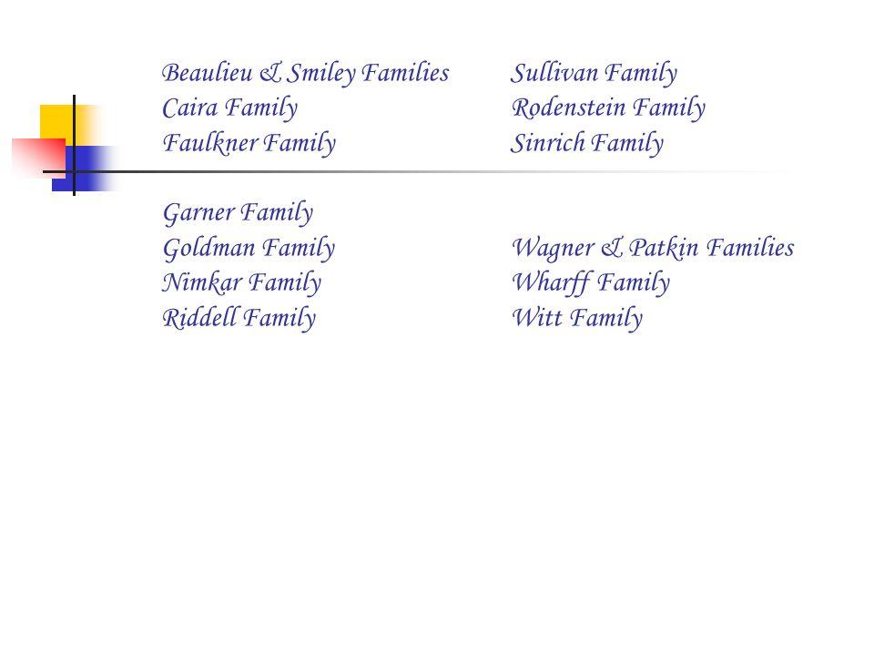 Beaulieu & Smiley FamiliesSullivan Family Caira FamilyRodenstein Family Faulkner FamilySinrich Family Garner Family Goldman FamilyWagner & Patkin Families Nimkar FamilyWharff Family Riddell FamilyWitt Family