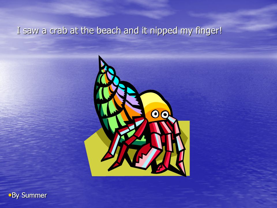 I saw a crab at the beach and it nipped my finger! By Summer By Summer