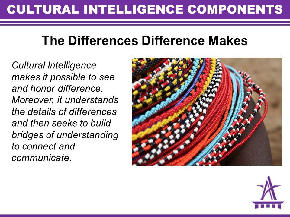 The Differences Difference Makes Cultural Intelligence makes it possible to see and honor difference.