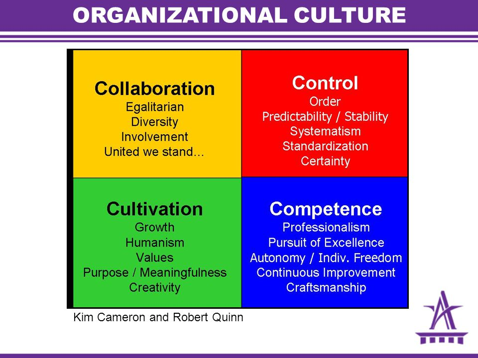 ORGANIZATIONAL CULTURE Kim Cameron and Robert Quinn