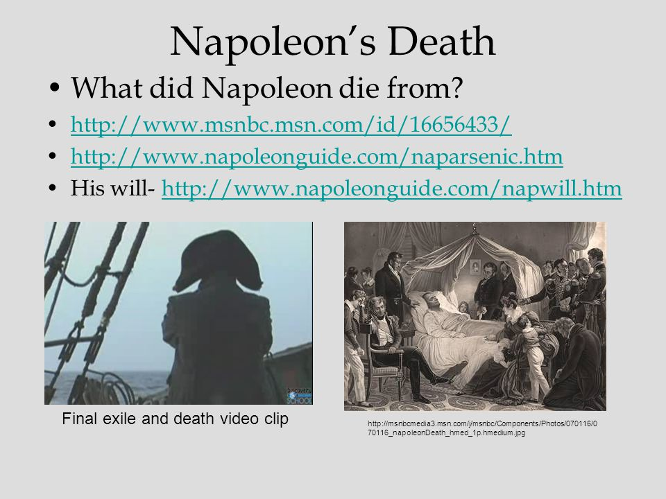 Napoleon's Death What did Napoleon die from.