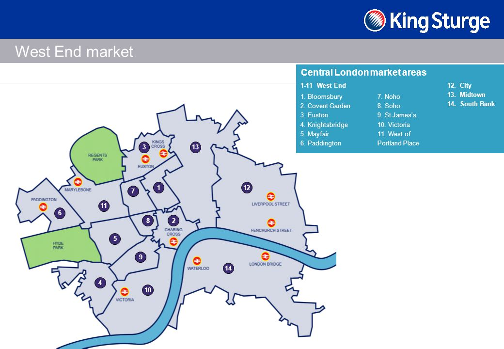 Central London market areas 12. City 13. Midtown 14.