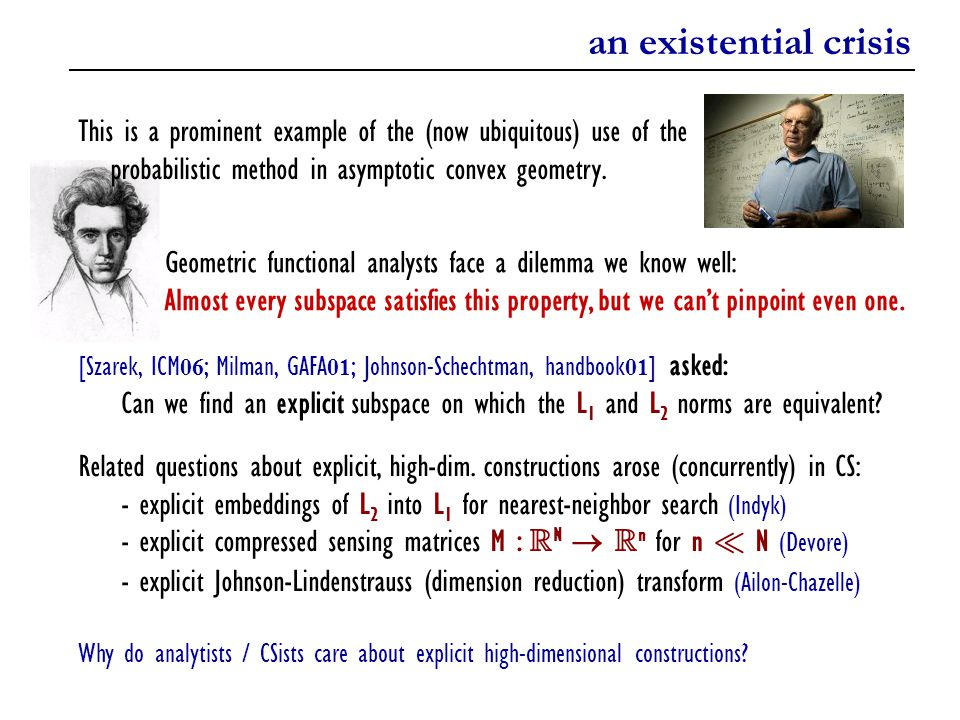 an existential crisis Geometric functional analysts face a dilemma we know well: Almost every subspace satisfies this property, but we can't pinpoint even one.