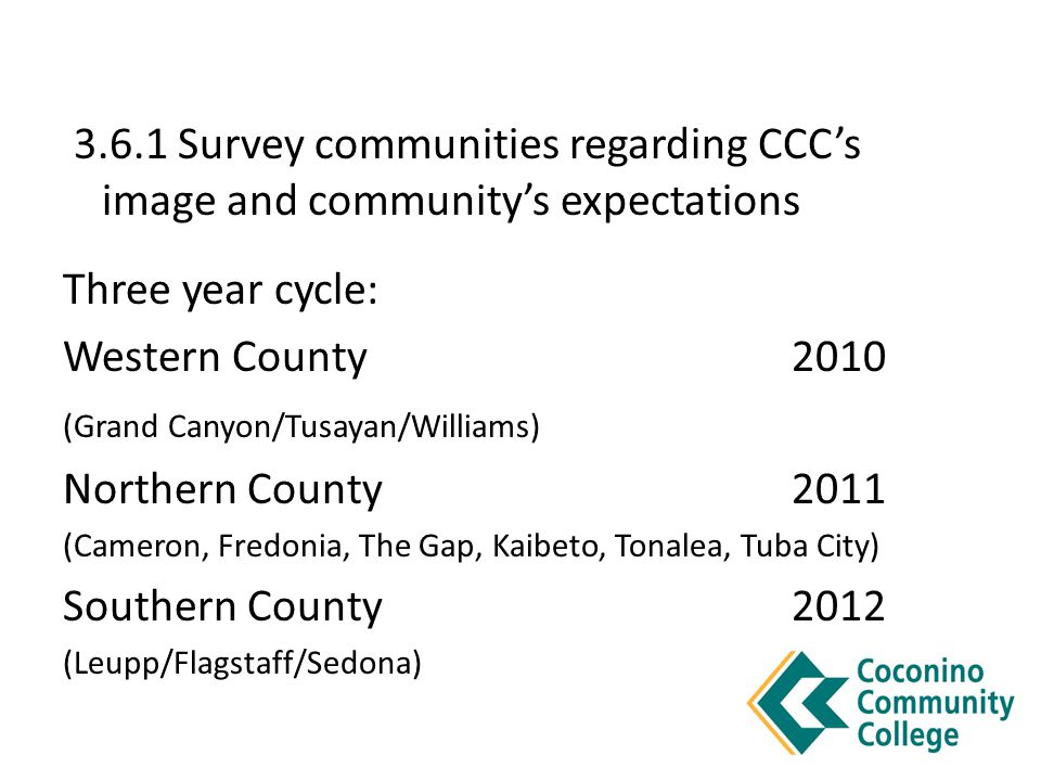 3.6.1 Survey communities regarding CCC's image and community's expectations Three year cycle: Western County2010 (Grand Canyon/Tusayan/Williams) Northern County 2011 (Cameron, Fredonia, The Gap, Kaibeto, Tonalea, Tuba City) Southern County2012 (Leupp/Flagstaff/Sedona)