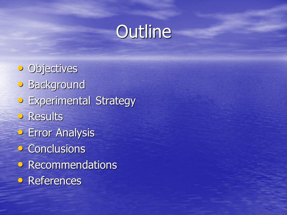 Outline Objectives Objectives Background Background Experimental Strategy Experimental Strategy Results Results Error Analysis Error Analysis Conclusions Conclusions Recommendations Recommendations References References