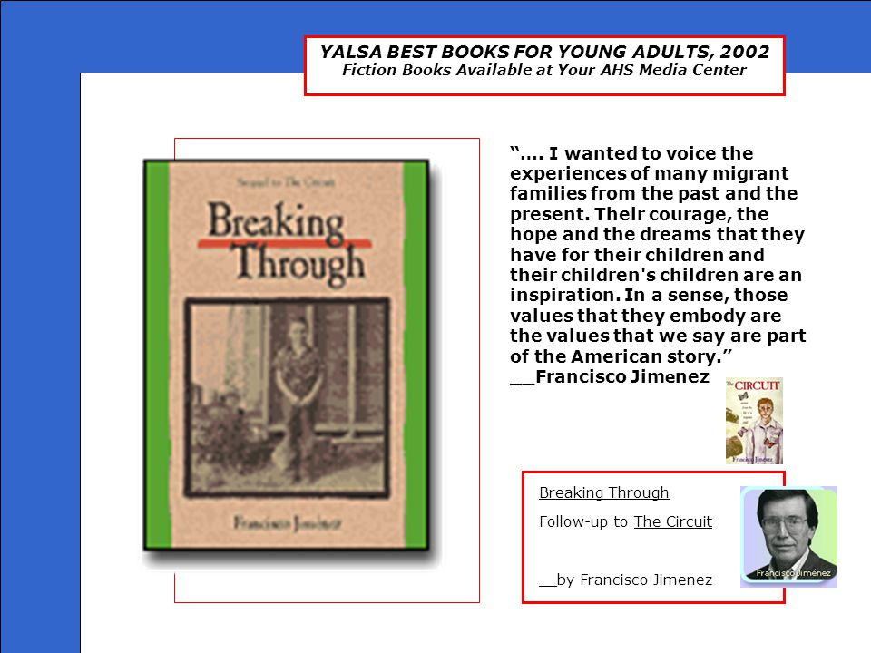 "YALSA BEST BOOKS FOR YOUNG ADULTS, 2002 Fiction Books Available at Your AHS Media Center ""…. I wanted to voice the experiences of many migrant familie"