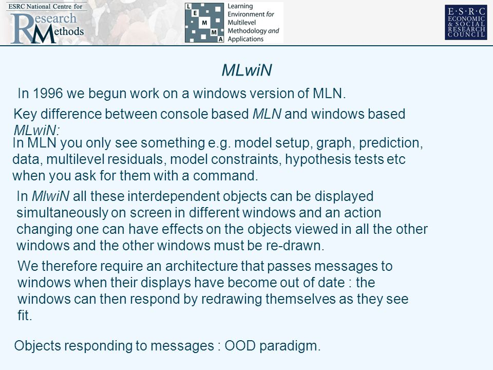 MLwiN In 1996 we begun work on a windows version of MLN.