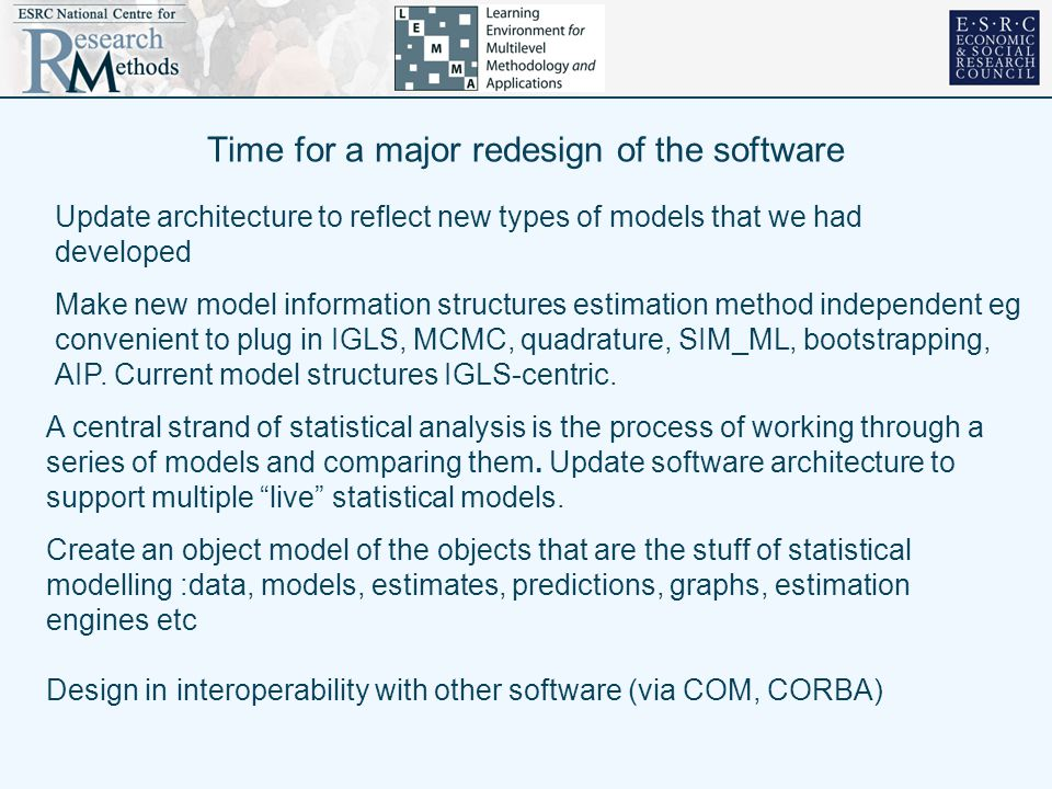 Time for a major redesign of the software Update architecture to reflect new types of models that we had developed A central strand of statistical analysis is the process of working through a series of models and comparing them.