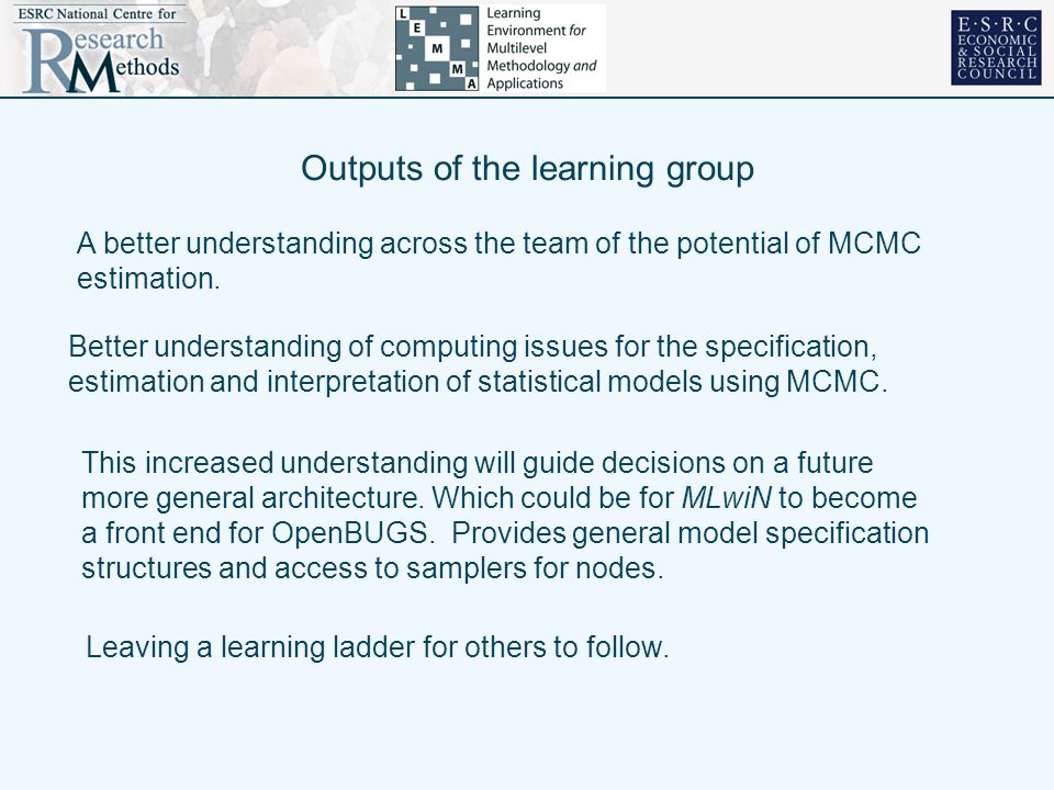 Outputs of the learning group A better understanding across the team of the potential of MCMC estimation. Better understanding of computing issues for