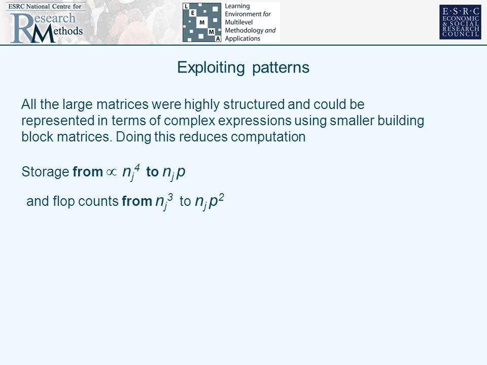 Exploiting patterns All the large matrices were highly structured and could be represented in terms of complex expressions using smaller building bloc