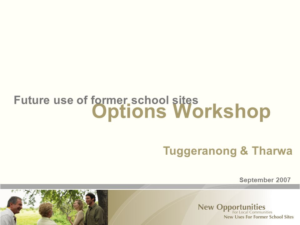 Options Workshop Future use of former school sites September 2007 Tuggeranong & Tharwa