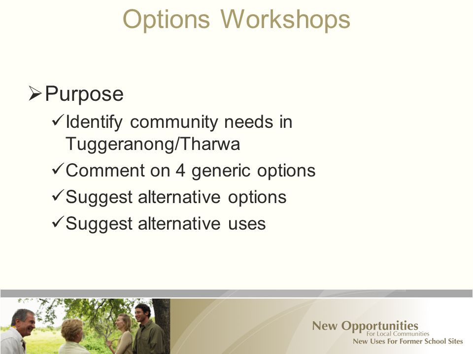 Options Workshops  Purpose Identify community needs in Tuggeranong/Tharwa Comment on 4 generic options Suggest alternative options Suggest alternative uses