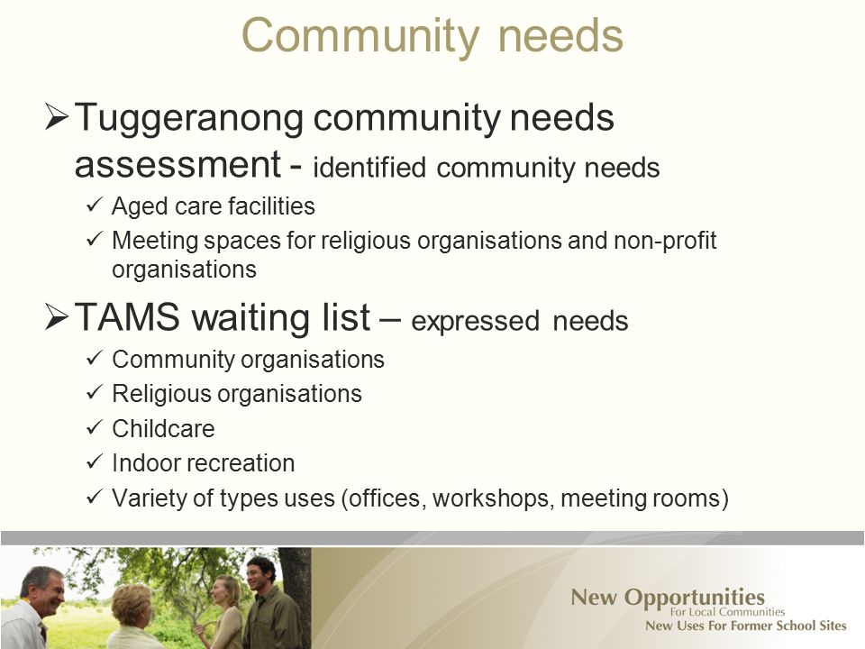 Community needs  Tuggeranong community needs assessment - identified community needs Aged care facilities Meeting spaces for religious organisations and non-profit organisations  TAMS waiting list – expressed needs Community organisations Religious organisations Childcare Indoor recreation Variety of types uses (offices, workshops, meeting rooms)