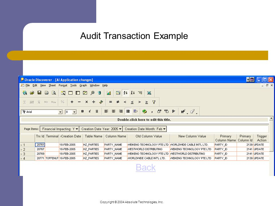 Copyright © 2004 Absolute Technologies, Inc. Audit Transaction Example Back