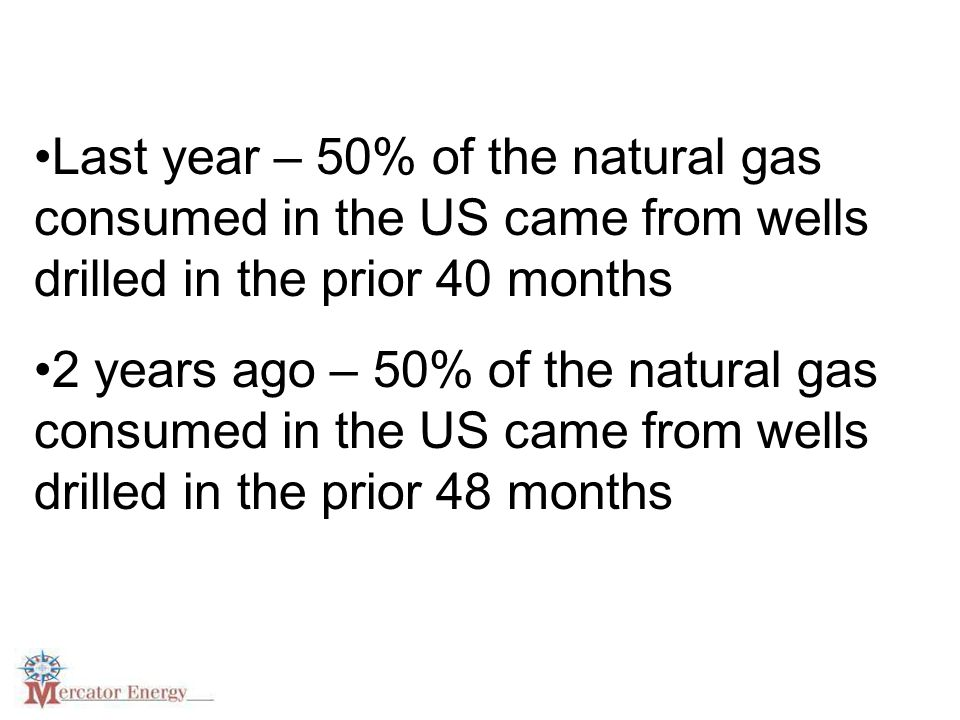 Last year – 50% of the natural gas consumed in the US came from wells drilled in the prior 40 months 2 years ago – 50% of the natural gas consumed in the US came from wells drilled in the prior 48 months