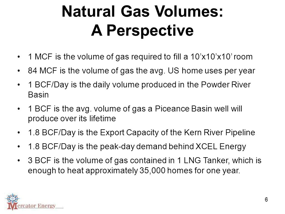 6 Natural Gas Volumes: A Perspective 1 MCF is the volume of gas required to fill a 10'x10'x10' room 84 MCF is the volume of gas the avg.