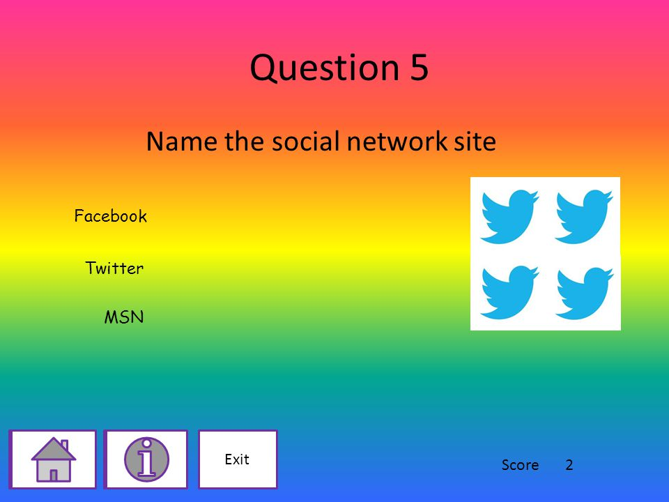 Question 5 Name the social network site Facebook Twitter MSN Exit Score2
