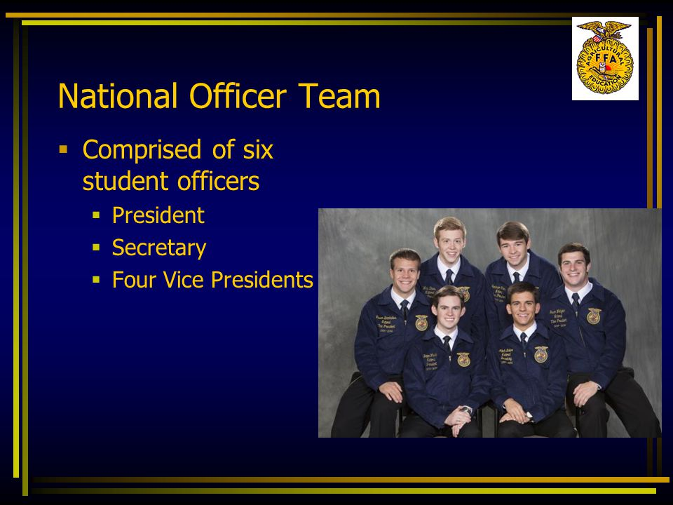 Opening Ceremony- All in Unison  President:  FFA members, why are we here?  All members say:  To practice brotherhood, honor agricultural opportunities and responsibilities, and develop those qualities of leadership which an FFA member should possess.