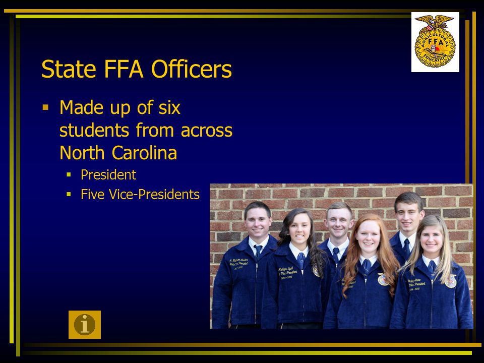 State FFA Officers  Made up of six students from across North Carolina  President  Five Vice-Presidents