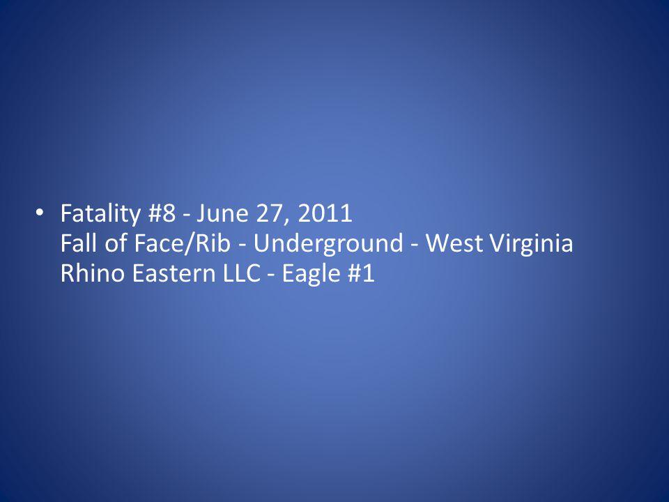 Fatality #8 - June 27, 2011 Fall of Face/Rib - Underground - West Virginia Rhino Eastern LLC - Eagle #1