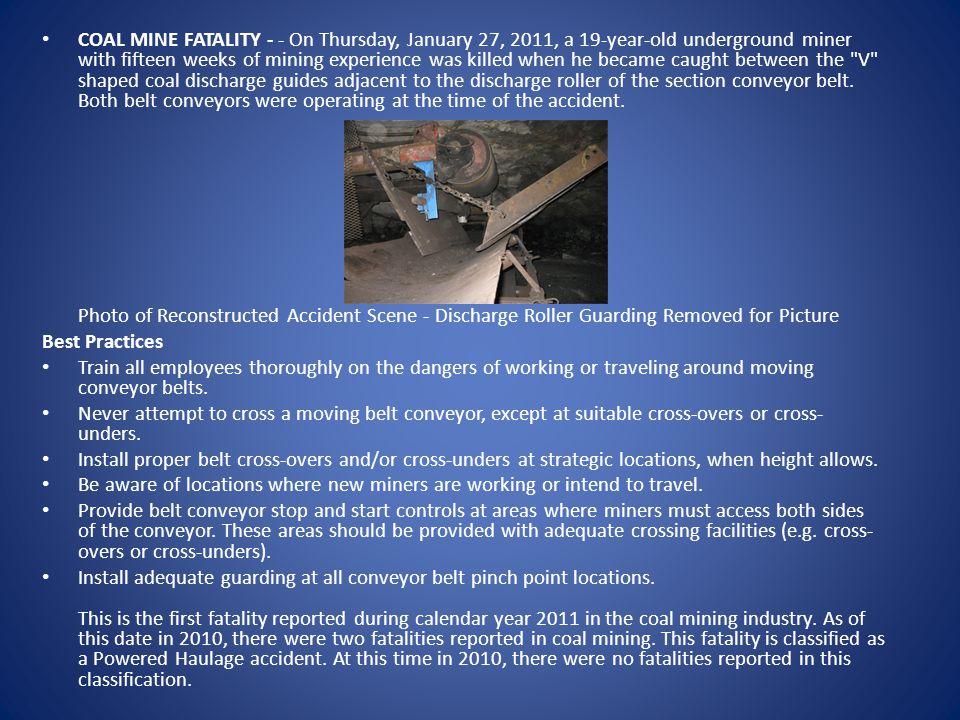 Fatality #13 - August 8, 2011 Machinery - Underground - Ohio American Energy Corporation - Century Mine