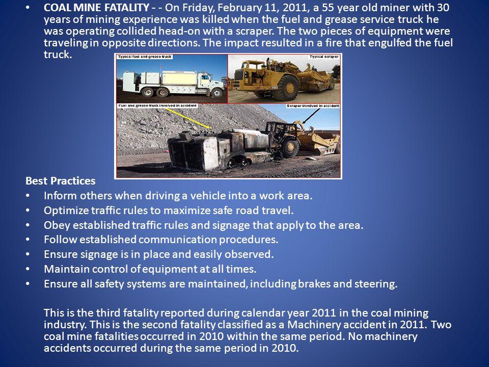 Fatality #4 - March 25, 2011 Machinery - Underground - Kentucky Matrix Energy LLC - No. 1