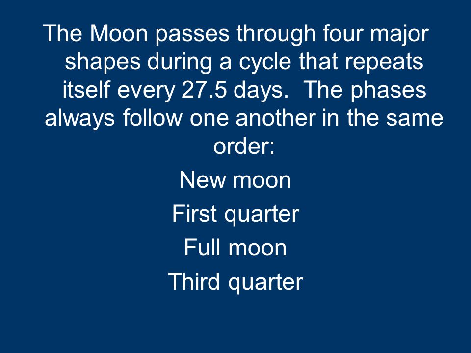 The Moon passes through four major shapes during a cycle that repeats itself every 27.5 days.