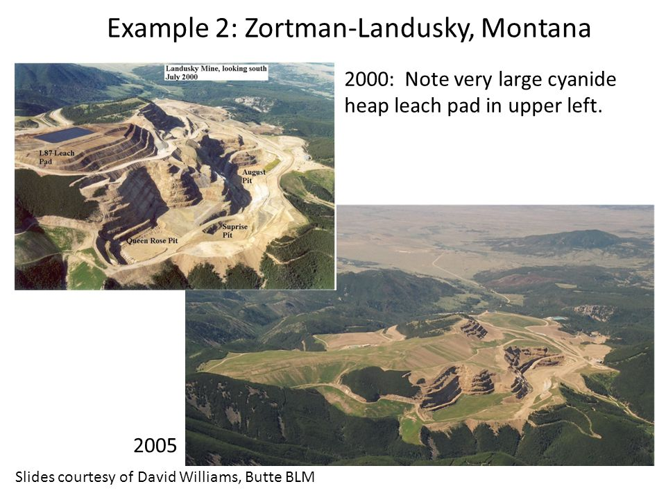 2000: Note very large cyanide heap leach pad in upper left.