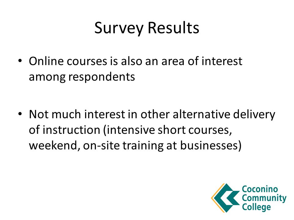 Survey Results Online courses is also an area of interest among respondents Not much interest in other alternative delivery of instruction (intensive short courses, weekend, on-site training at businesses)