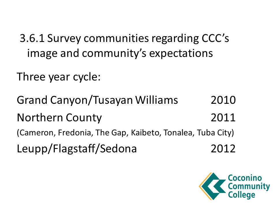 3.6.1 Survey communities regarding CCC's image and community's expectations Three year cycle: Grand Canyon/Tusayan Williams 2010 Northern County2011 (Cameron, Fredonia, The Gap, Kaibeto, Tonalea, Tuba City) Leupp/Flagstaff/Sedona2012