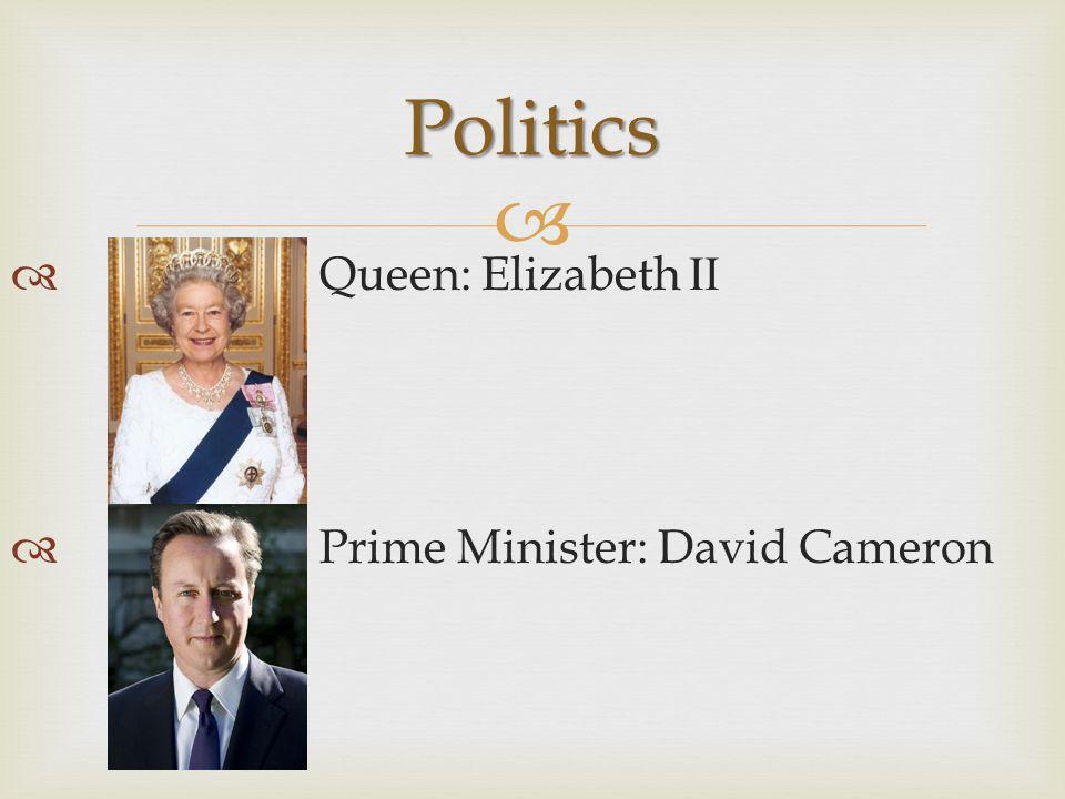   Queen: Elizabeth II  Prime Minister: David Cameron Politics