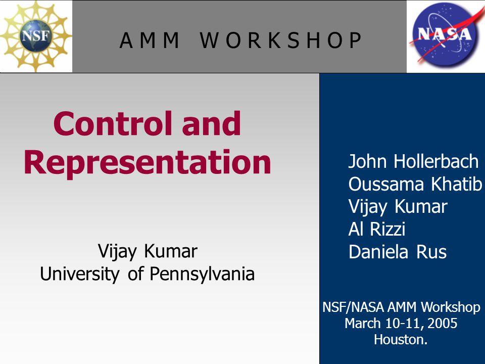 A M M W O R K S H O P John Hollerbach Oussama Khatib Vijay Kumar Al Rizzi Daniela Rus Control and Representation Vijay Kumar University of Pennsylvania NSF/NASA AMM Workshop March 10-11, 2005 Houston.
