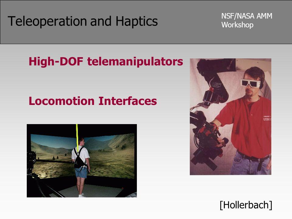NSF/NASA AMM Workshop Teleoperation and Haptics High-DOF telemanipulators Locomotion Interfaces [Hollerbach]