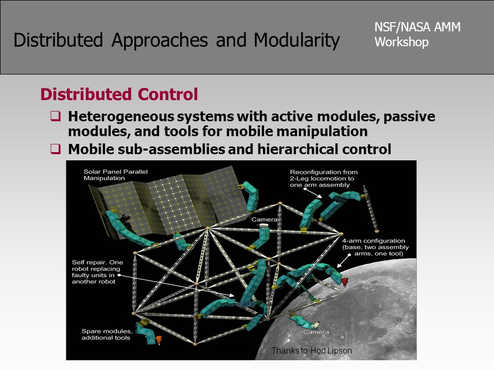 NSF/NASA AMM Workshop Distributed Approaches and Modularity Distributed Control  Heterogeneous systems with active modules, passive modules, and tools for mobile manipulation  Mobile sub-assemblies and hierarchical control Thanks to Hod Lipson