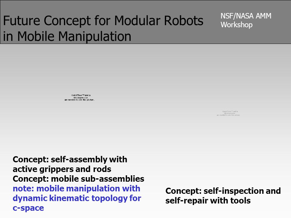 NSF/NASA AMM Workshop Future Concept for Modular Robots in Mobile Manipulation Concept: self-assembly with active grippers and rods Concept: mobile sub-assemblies note: mobile manipulation with dynamic kinematic topology for c-space Concept: self-inspection and self-repair with tools