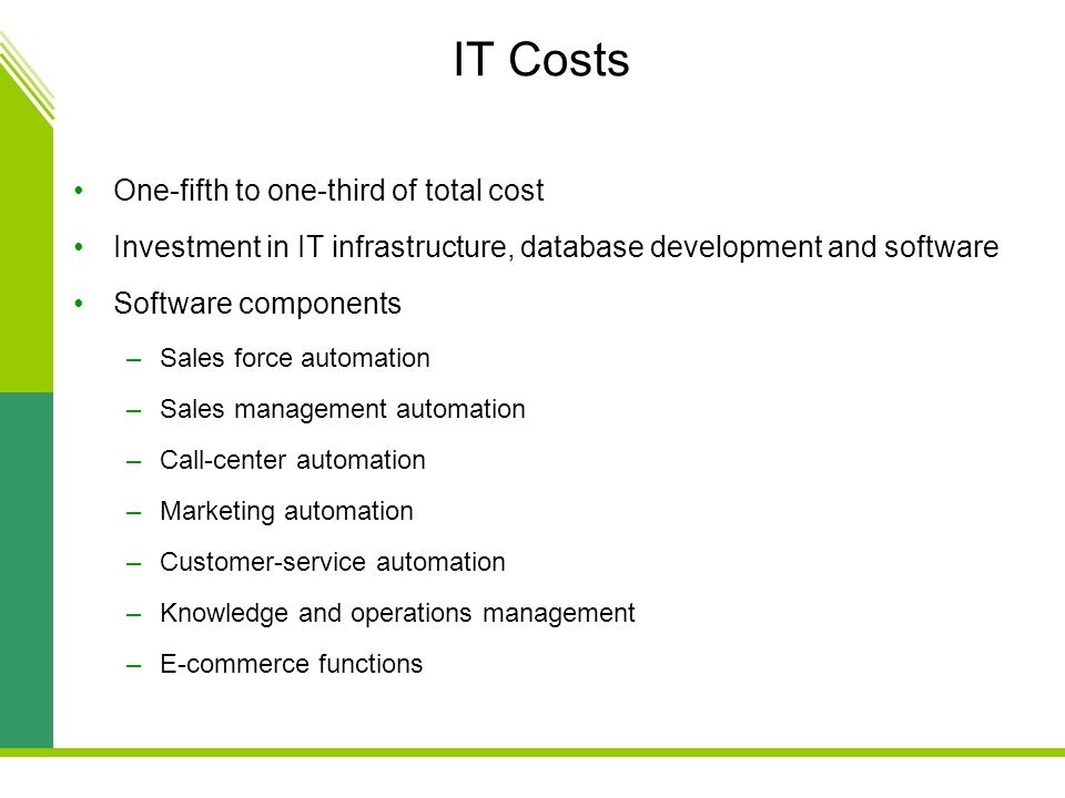 IT Costs One-fifth to one-third of total cost Investment in IT infrastructure, database development and software Software components –Sales force automation –Sales management automation –Call-center automation –Marketing automation –Customer-service automation –Knowledge and operations management –E-commerce functions