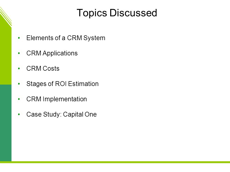 Topics Discussed Elements of a CRM System CRM Applications CRM Costs Stages of ROI Estimation CRM Implementation Case Study: Capital One