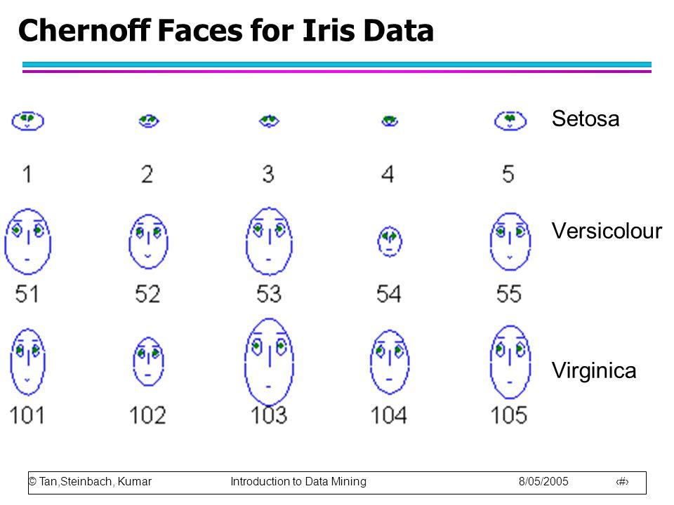 © Tan,Steinbach, Kumar Introduction to Data Mining 8/05/2005 30 Chernoff Faces for Iris Data Setosa Versicolour Virginica