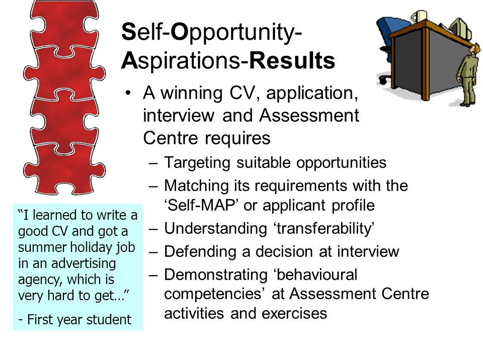 A winning CV, application, interview and Assessment Centre requires –Targeting suitable opportunities –Matching its requirements with the 'Self-MAP' or applicant profile –Understanding 'transferability' –Defending a decision at interview –Demonstrating 'behavioural competencies' at Assessment Centre activities and exercises Self-Opportunity- Aspirations-Results I learned to write a good CV and got a summer holiday job in an advertising agency, which is very hard to get… - First year student