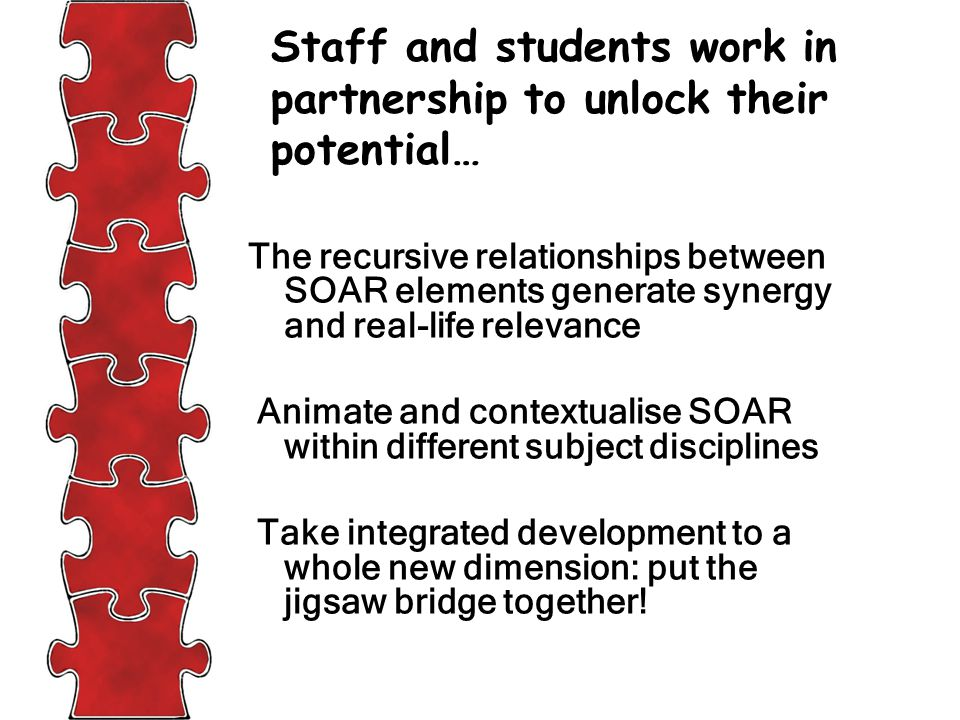 The recursive relationships between SOAR elements generate synergy and real-life relevance Animate and contextualise SOAR within different subject disciplines Take integrated development to a whole new dimension: put the jigsaw bridge together.