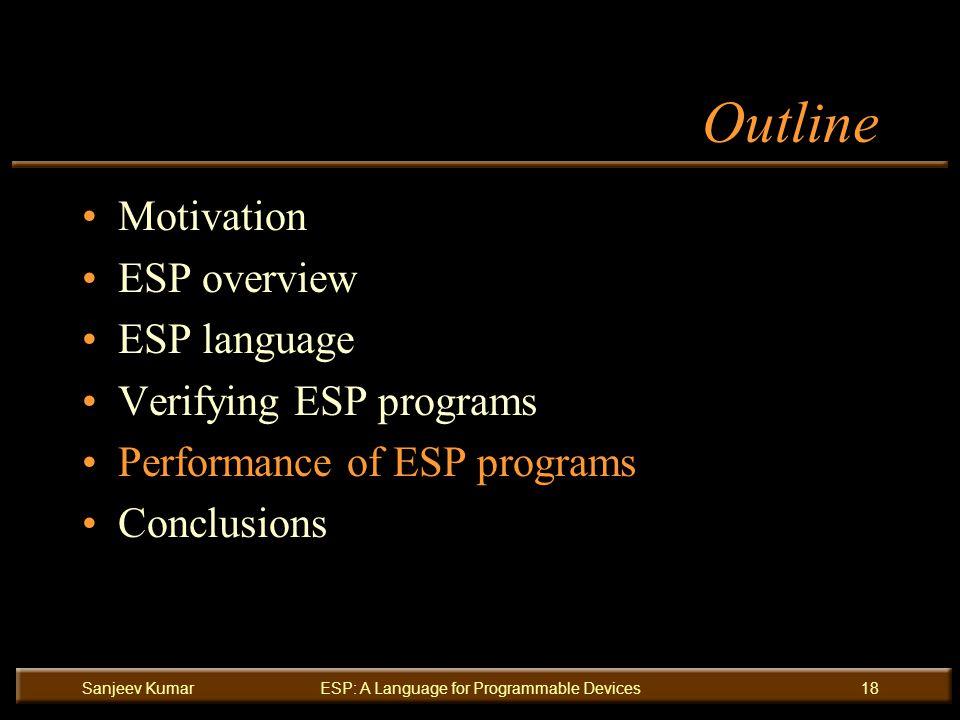 Sanjeev KumarESP: A Language for Programmable Devices18 Outline Motivation ESP overview ESP language Verifying ESP programs Performance of ESP programs Conclusions