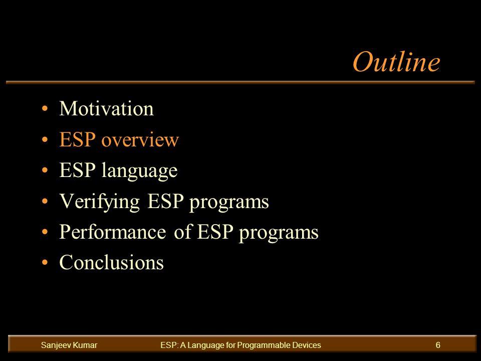 Sanjeev KumarESP: A Language for Programmable Devices6 Outline Motivation ESP overview ESP language Verifying ESP programs Performance of ESP programs Conclusions