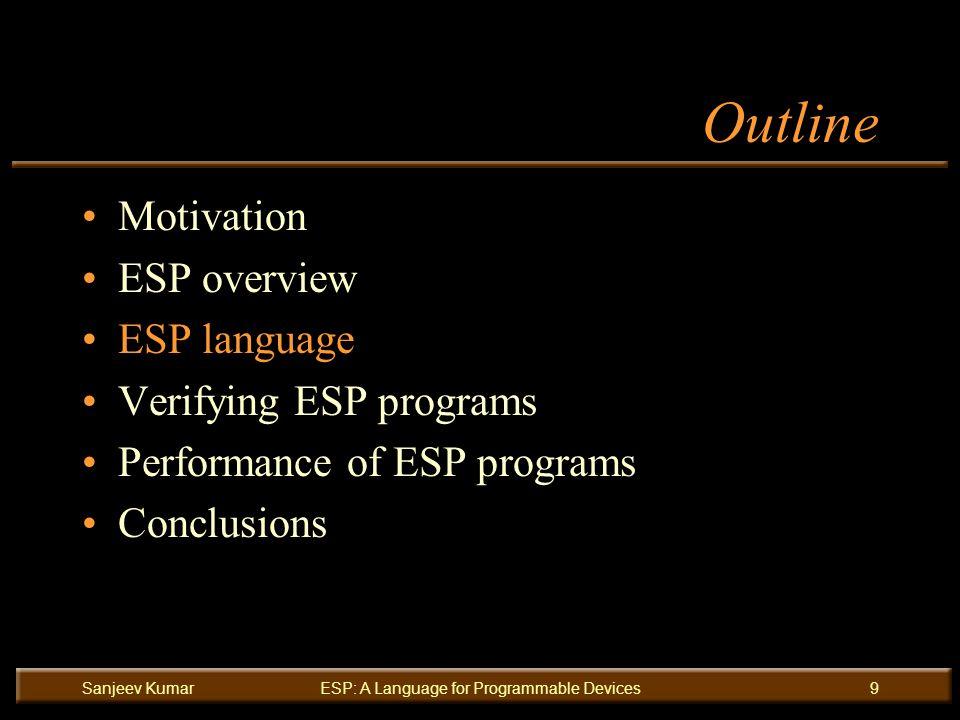 Sanjeev KumarESP: A Language for Programmable Devices9 Outline Motivation ESP overview ESP language Verifying ESP programs Performance of ESP programs Conclusions