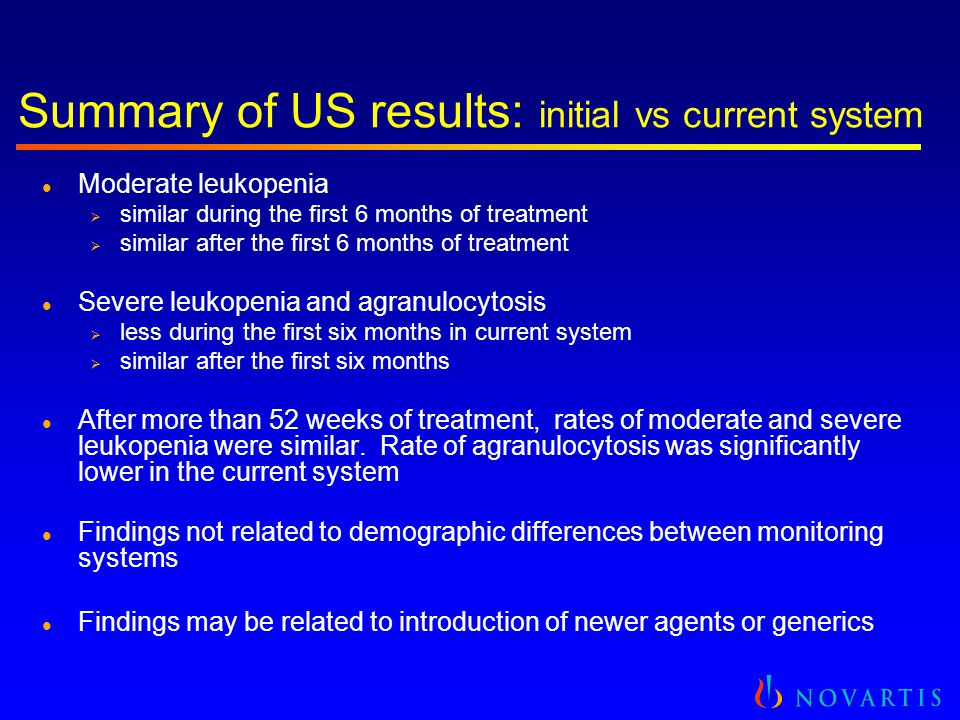 Summary of US results: initial vs current system l Moderate leukopenia  similar during the first 6 months of treatment  similar after the first 6 mo