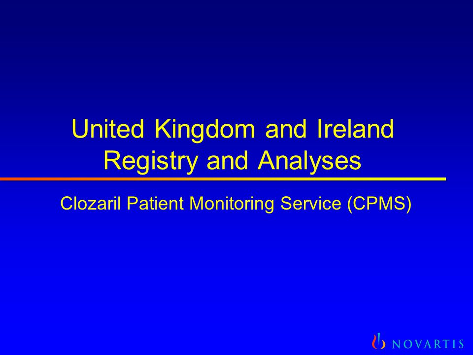 United Kingdom and Ireland Registry and Analyses Clozaril Patient Monitoring Service (CPMS)