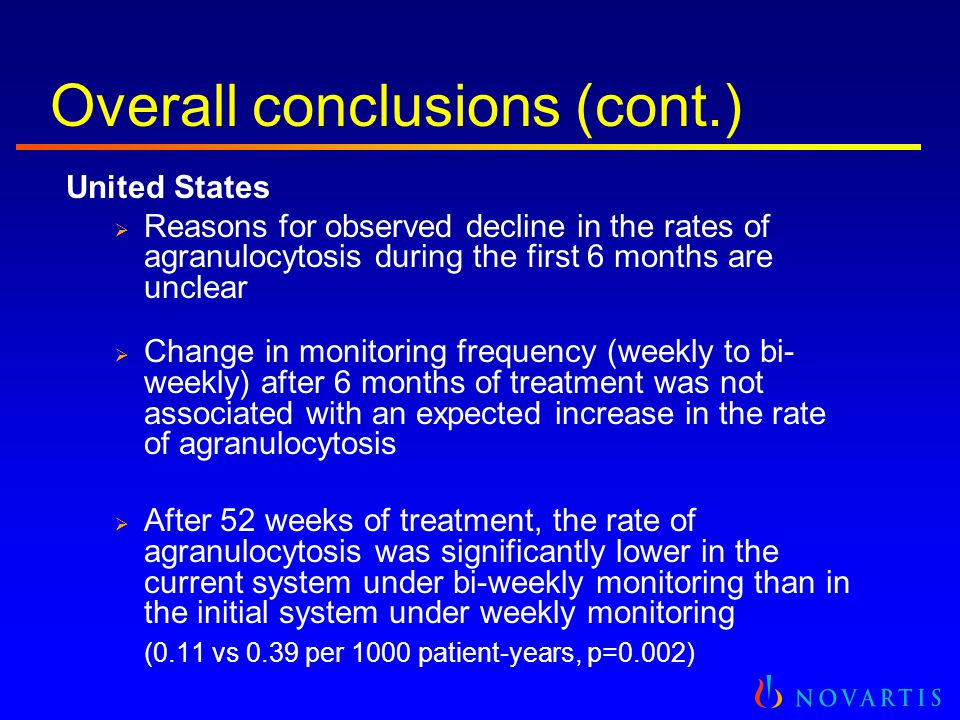 Overall conclusions (cont.) United States  Reasons for observed decline in the rates of agranulocytosis during the first 6 months are unclear  Chang