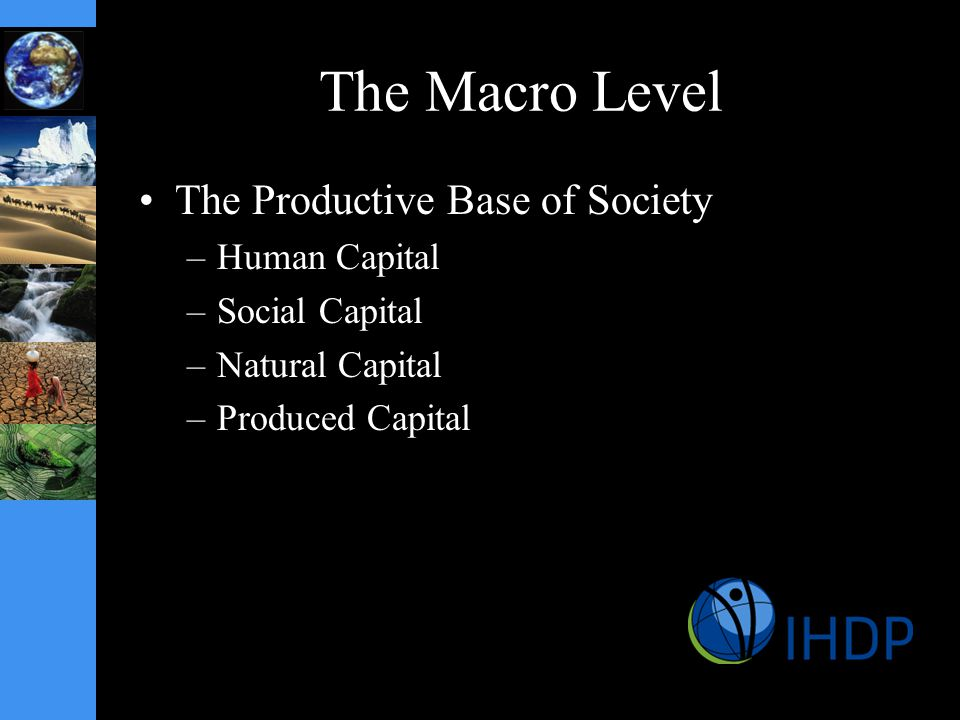 The Macro Level The Productive Base of Society –Human Capital –Social Capital –Natural Capital –Produced Capital